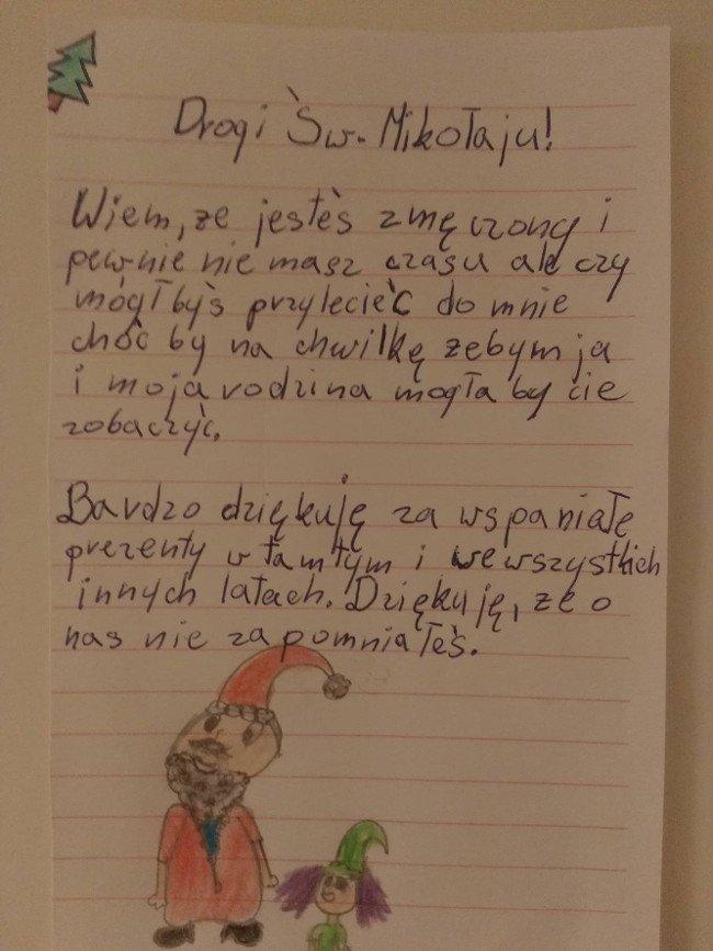 List dziewczynki do Mikołaja.