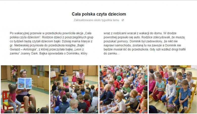 Czytanie dzieciom w Przedszkolu Bajkowy Parasol