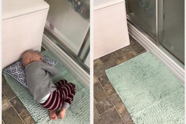 Ruth opublikowała zdjęcie, na którym jej syn czeka na nią na łazienkowym dywaniku.