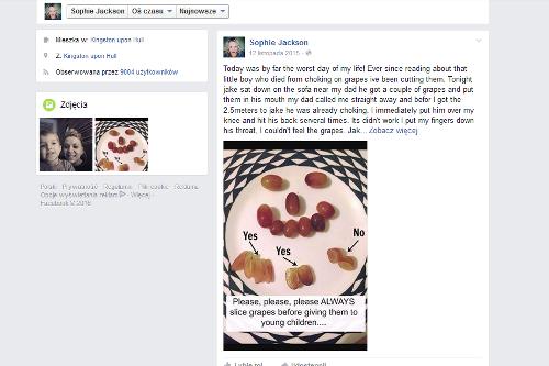 Fot. screen z Facebooka [url=https://www.facebook.com/sophie.jackson.3762584?fref=nf]Sophie Jackson[/url]