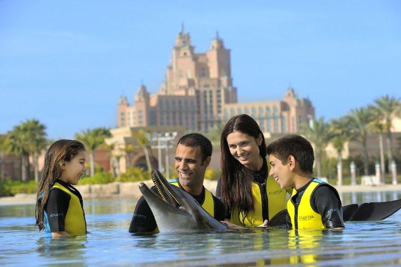 Pływanie z delfinami stanowi jedną z atrakcji parku wodnego otwartego na usypanej u wybrzeży Dubaju wyspie Palma Dżamira