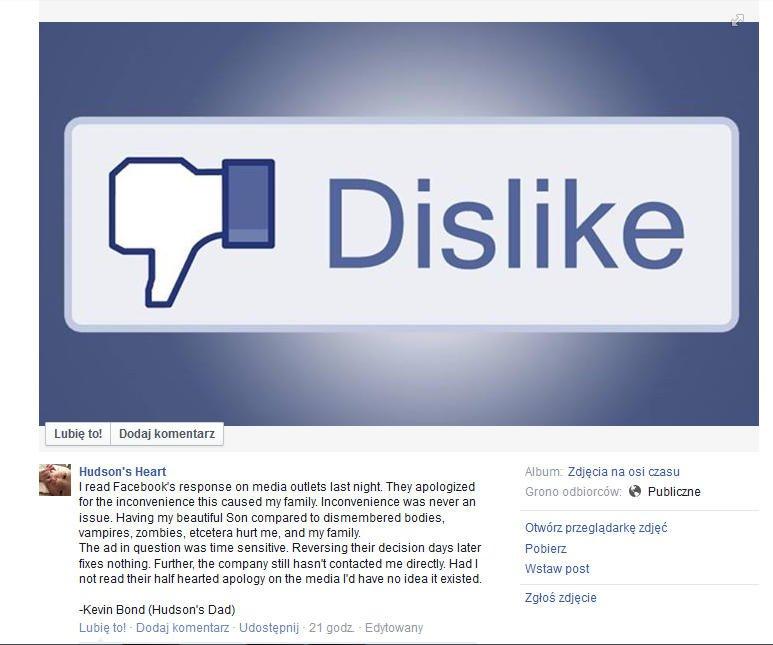 Administratorzy Facebooka unikają bezpośredniego kontaktu z ojcem Hudson'a