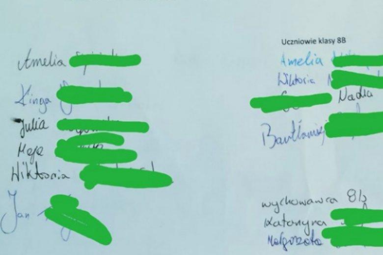 Podanie podpisali wszyscy uczniowie klasy integracyjnej, którzy byli tego dnia w szkole