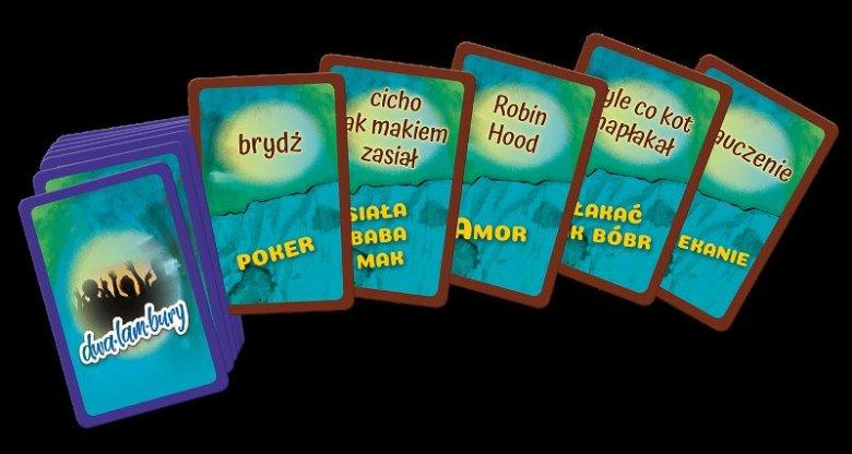 """Karty do gry """"Dwalambury"""". Każda zawiera dwa bliskie znaczeniowo hasła"""