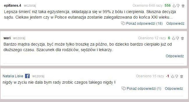 Komentarze internautów ws. decyzji o eutanazji dziecka