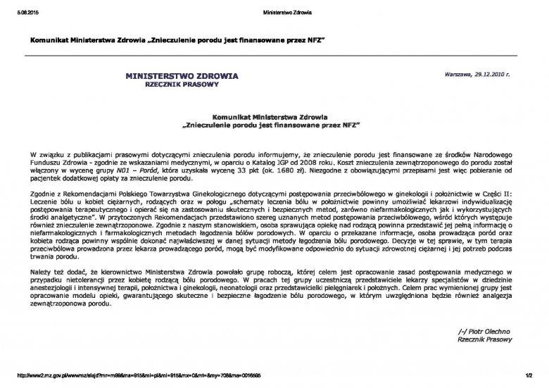 [url=http://bit.ly/1IlIqMA]Komunikat MZ w sprawie znieczuleń porodu / Warszawa, 29.12.2010 r[/url]