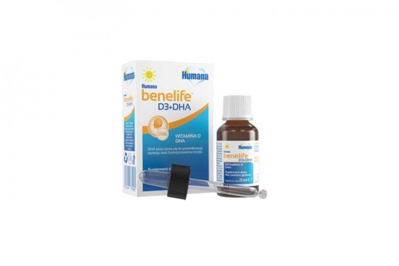 Humana benelife D3+DHA to naturalny suplement , który przy jednym podaniu dostarcza dwóch składników wspomagających m.in. rozwój kości i funkcjonowanie układu odpornościowego