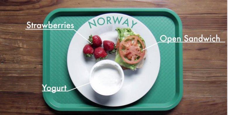 Zestaw obiadowy dla dzieci serwowany w Norwegii