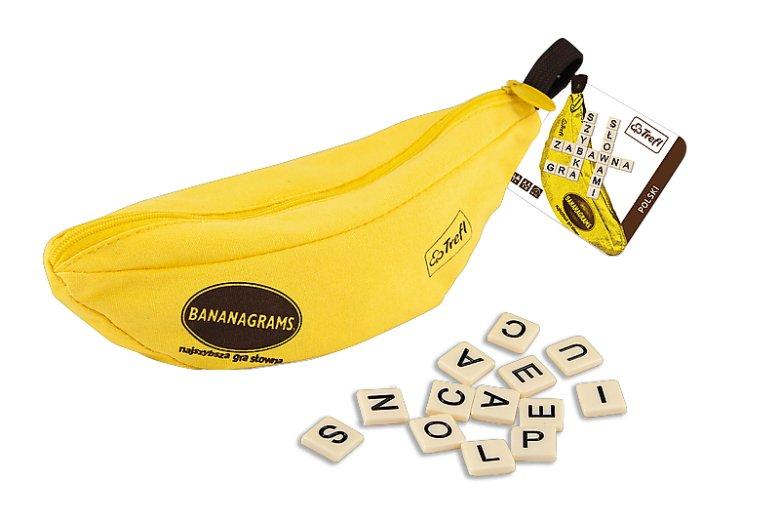 W bananowym piórniku znajdziemy 144 płytki z literkami do układania krzyżówek. Polska wersja Bananagrams zawiera dołączone w osobnym woreczku polskie znaki