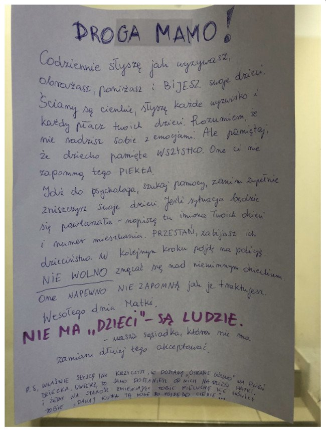 Anonimowy list, który zawisł na klatce bloku na krakowskim osiedlu