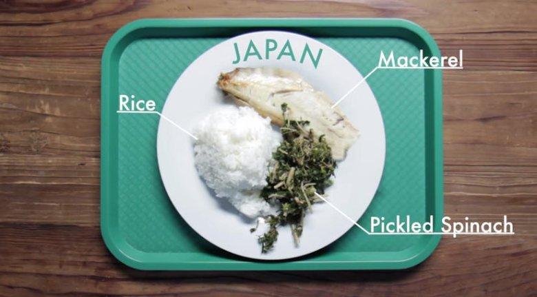 Zestaw obiadowy dla dzieci serwowany w Japonii