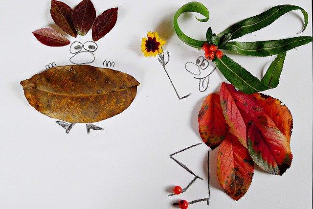 Prace plastyczne z liści. Jesienne zabawy dla najmłodszych.