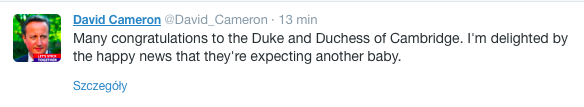 Gratulacje od Davida Camerona