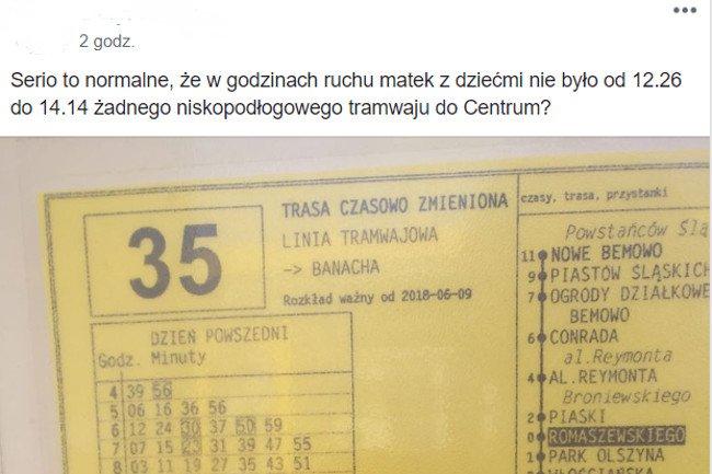 Tramwaj niskopodłogowy linii 35 jeździ w  warszawskich Bielanach co 2 godziny.