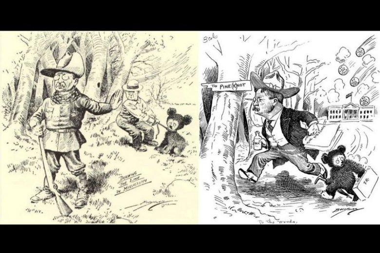 Wykonane stylem kreskówkowym rysunki Clifforda Berrymana, który uwiecznił legendarne ocalenie niedźwiadka przez amerykańskiego prezydenta Theodore'a Roosevelta.
