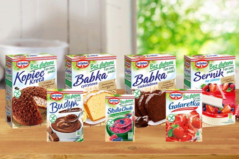 Wśród certyfikowanych produktów bezglutenowych  Dr. Oetkera znalazły się budynie, galaretki, jednoporcjowe desery, ciasta oraz artykuły do pieczenia