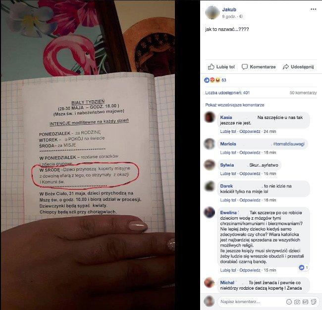 Notatka w zeszycie jednego z uczniów