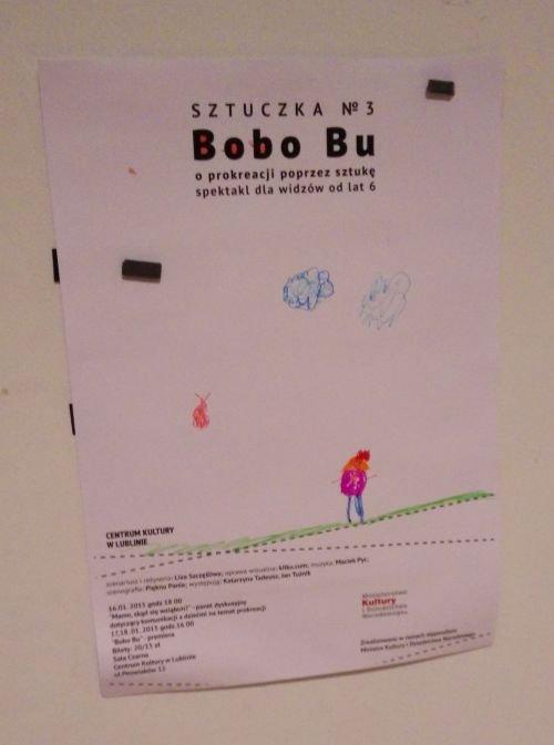 """Plakat spektaklu """"Bobo BU"""" w CK w Lublinie"""
