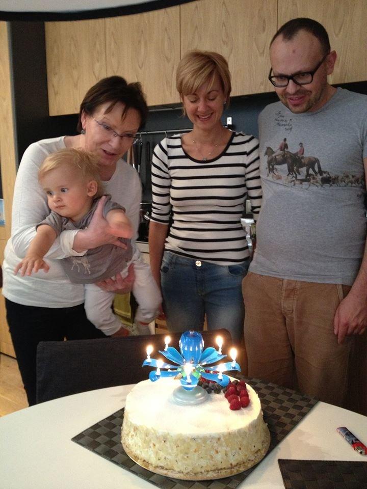 Pierwsze urodziny wnuka Ewy Kopacz, Juliana.
