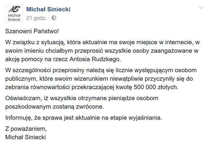 Oświadczenie Michała Sinieckiego
