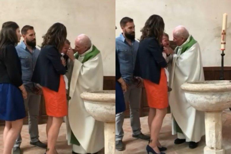 Ksiądz policzkuje niemowlę podczas chrztu.