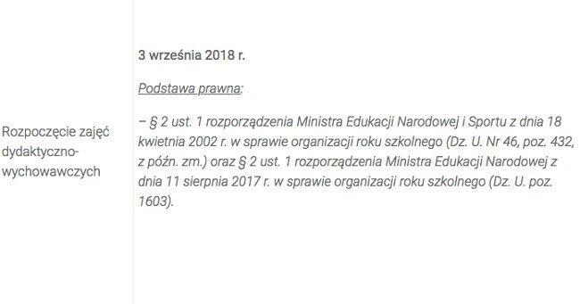 Data rozpoczęcia roku szkolnego 2018/2019