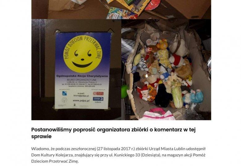 Uszkodzone zabawki i książki nie nadają się do przekazania potrzebującym.