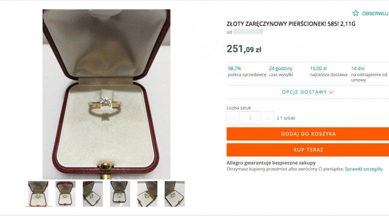 Przykład aukcji, na której można kupić pierścionek z odzysku.