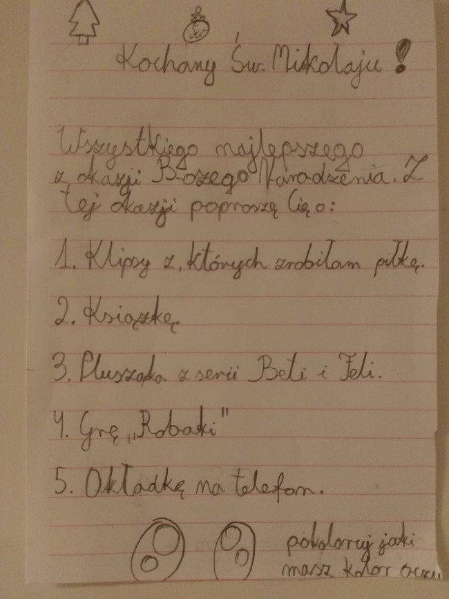List 10-latki do Mikołaja.