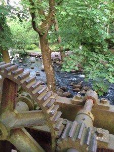 Potok Oliwski. Przechodzenie na drugą stronę po kamieniach to świetna, chociaż czasem mokra, zabawa;)