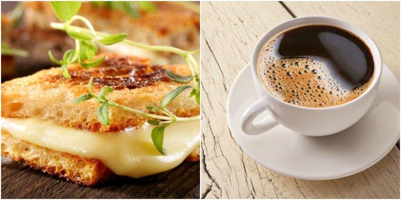 Kawa i kanapka z serem żółtym to jedna z siedmiu złych kombinacji żywieniowych