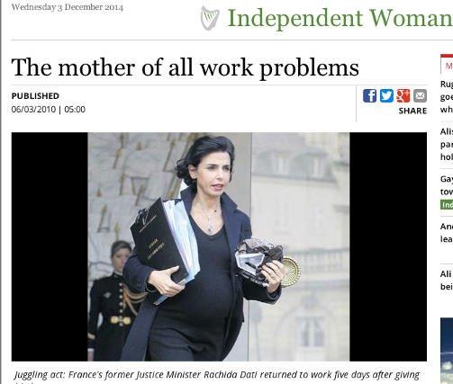 Rachida Dati, francuska minister sprawiedliwości, wróciła do pracy pięć dni po porodzie
