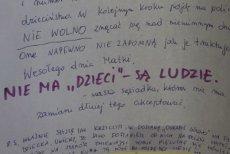 Fragment listu, jaki pojawił sie na klatce bloku na jednym z krakowskich osiedli