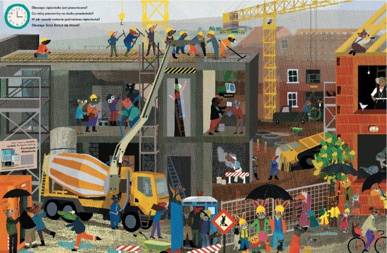 ''Coś się dzieje na budowie!'' to zbiór dużych ilustracji (rozkładówek), które przedstawiają upływ czasu na placu budowy w miasteczku zaludnionym przez sympatycznych bohaterów o zwierzęcym wyglądzie
