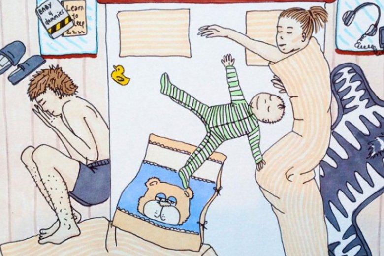 Tak wygląda spanie z dzieckiem w jednym łóżku.